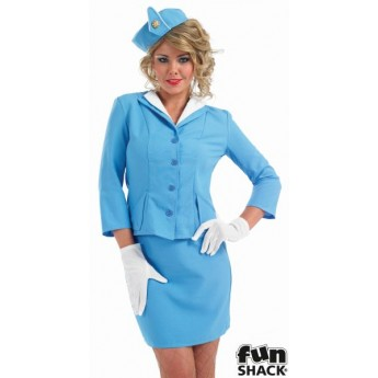 Blue Cabin Crew Fancy Dress Costume