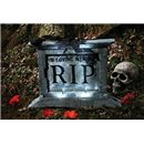 Tombstone With Black Rose Halloween Decoration
